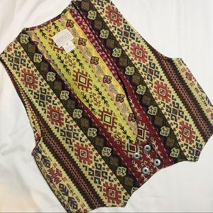 Pier 1 imports vintage button vest geometric print
